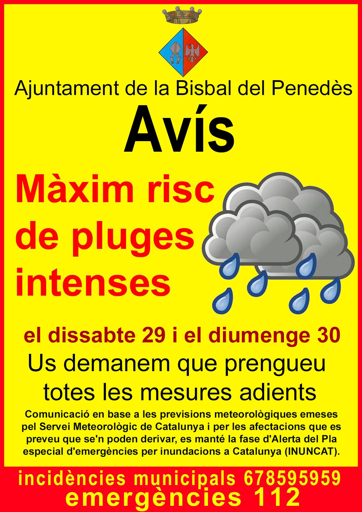 Ajuntament de la bisbal del pened s risc de pluges intenses - Tiempo la bisbal del penedes ...