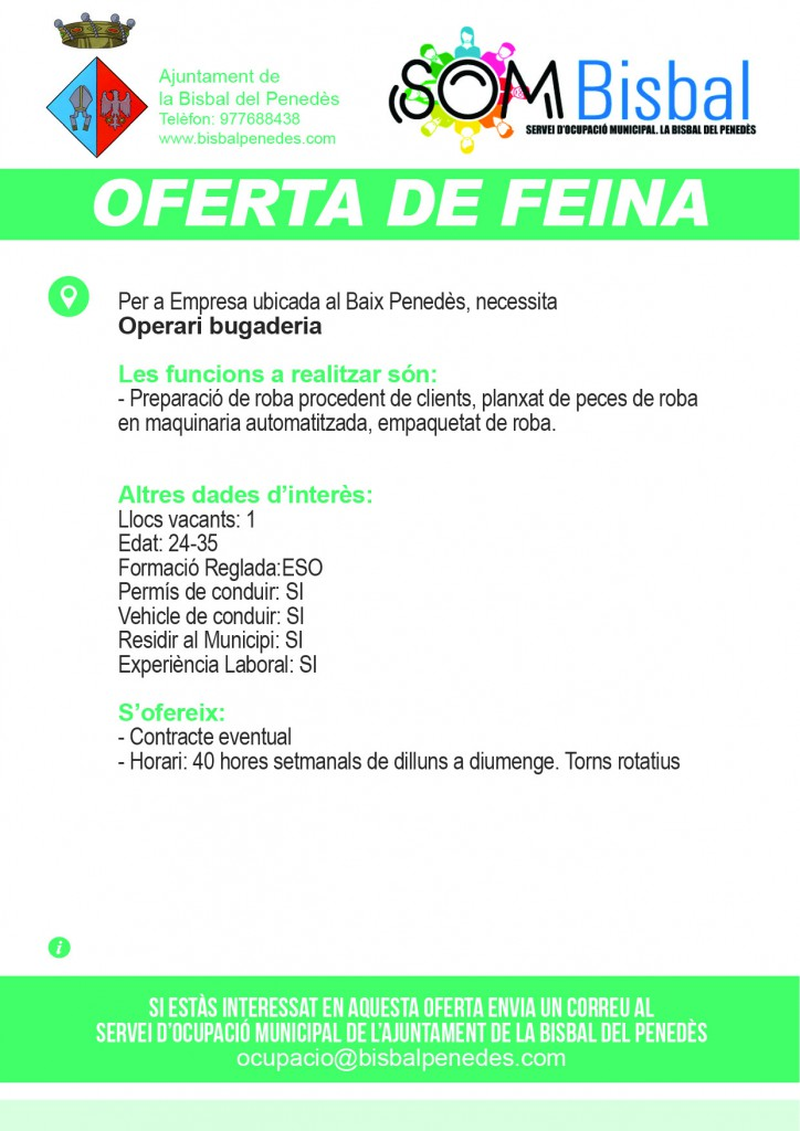 Ajuntament de la bisbal del pened s oferta de feina - Tiempo la bisbal del penedes ...