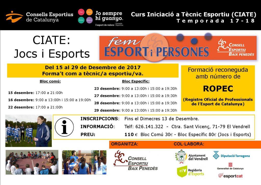 CARTELL CIATE Bloc Comu - Bloc Especific Jocs i Esports 2017