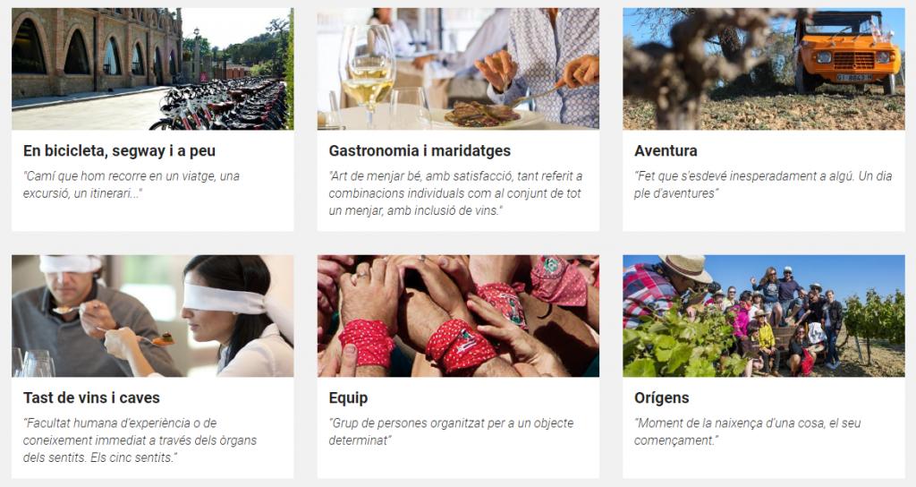 Captura d'imatge del web de Penedès Events d'Enoturisme Penedès