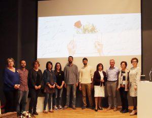 Fotografia dels premiats de l'any 2018 amb l'alcaldessa Agnès Ferré; la regidora de Cultura, Judit Vidal, i els membres del jurat.