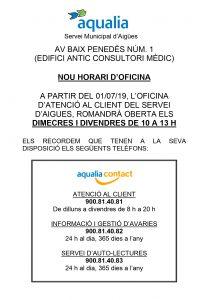 Nou horari oficina Bisbal a partir del 01-07-19 AQUALIA_page-0001