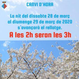 CANVI D'HORA PRIMAVERA 2020