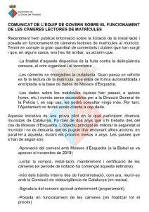 COMUNICAT EQUIP DE GOVERN CAMERES LECTORES - CAT