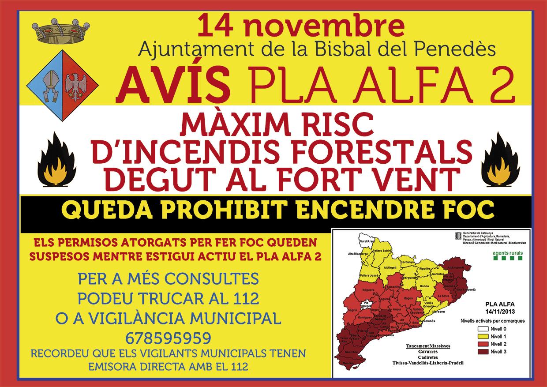 ALT RISC D'INCENDIS FORESTALS. PLA ALFA 2