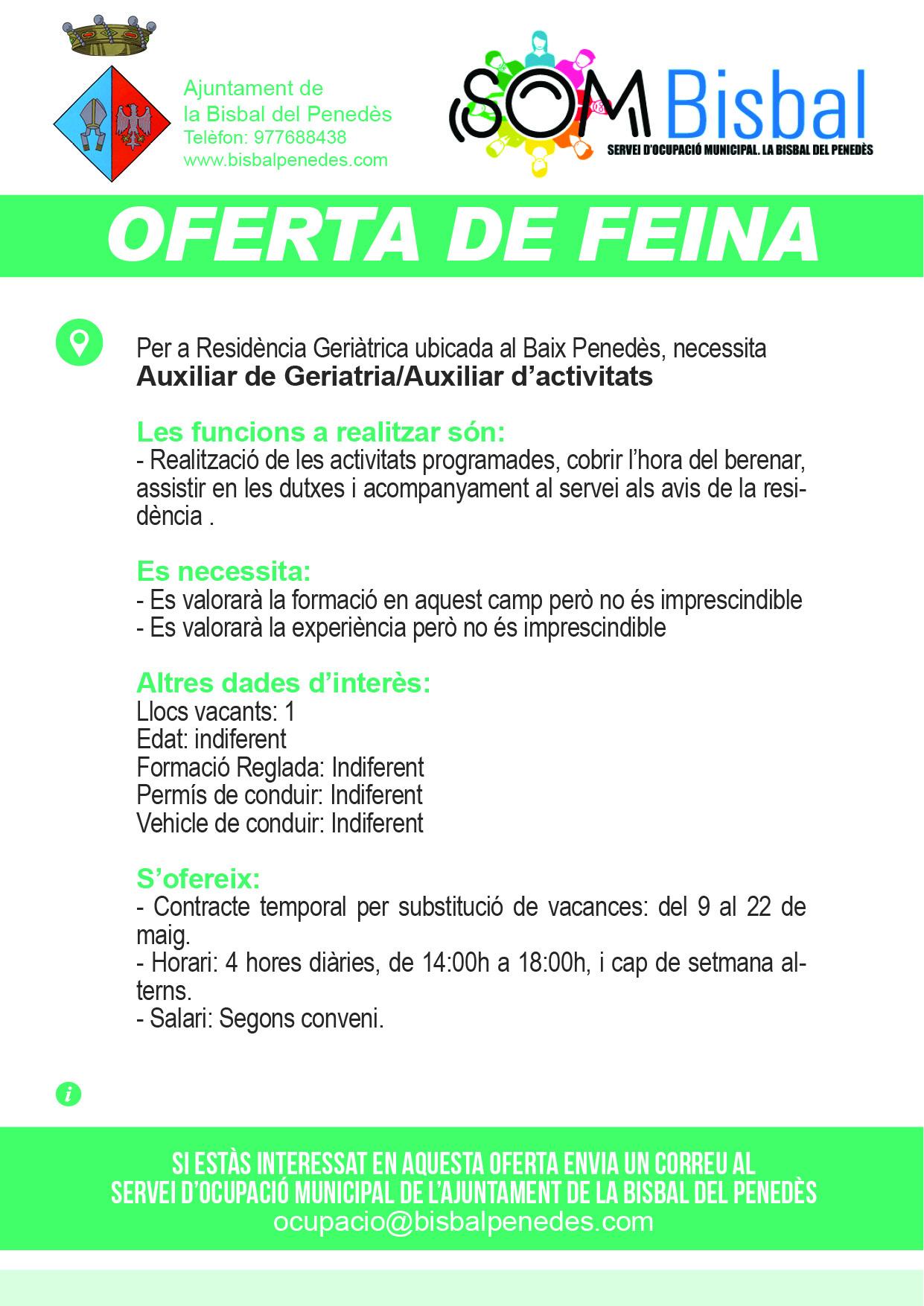 Oferta de feina. Auxiliar de Geriatria/Auxiliar d'activitats