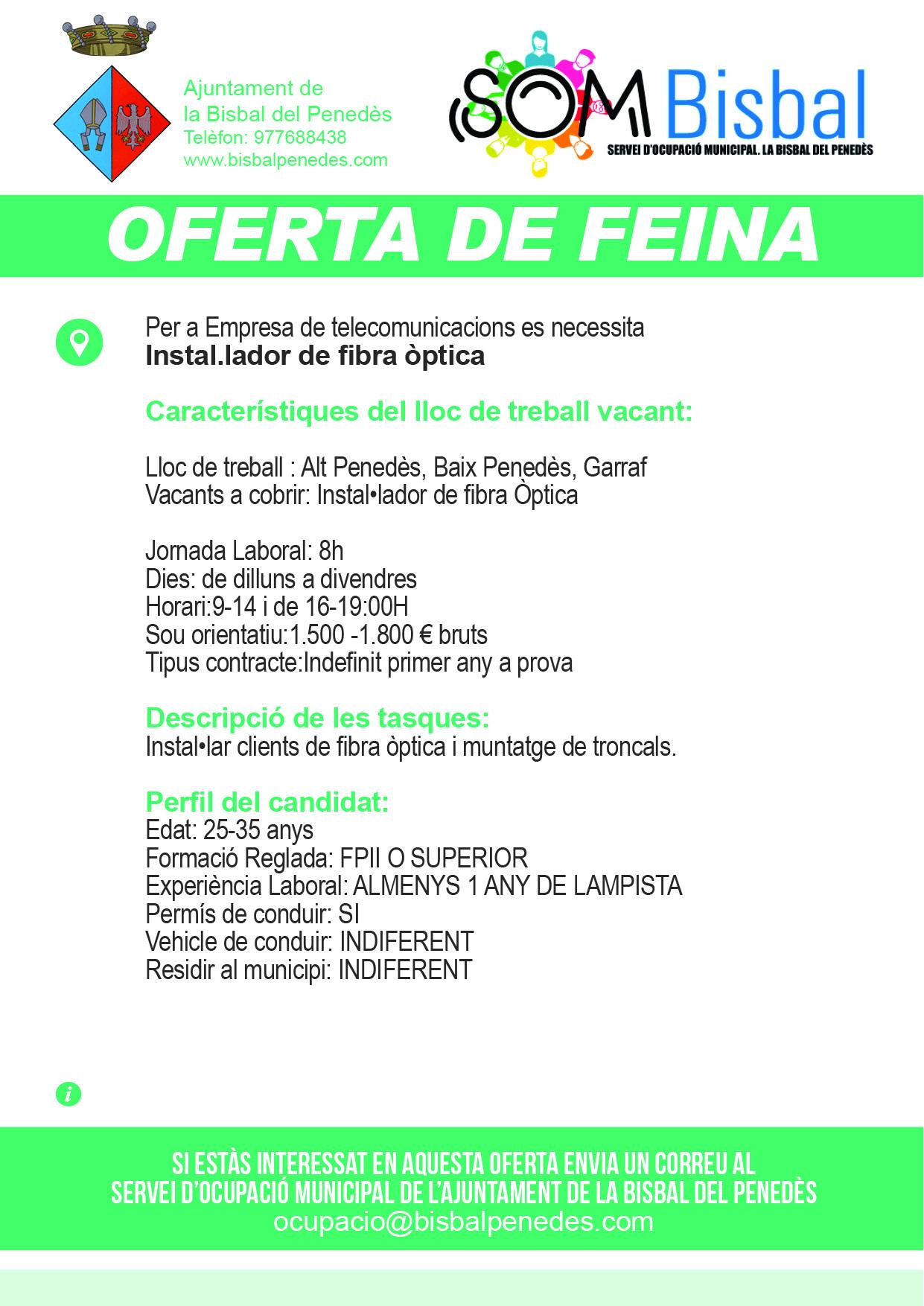 Oferta de feina instal.lador de fibra òptica