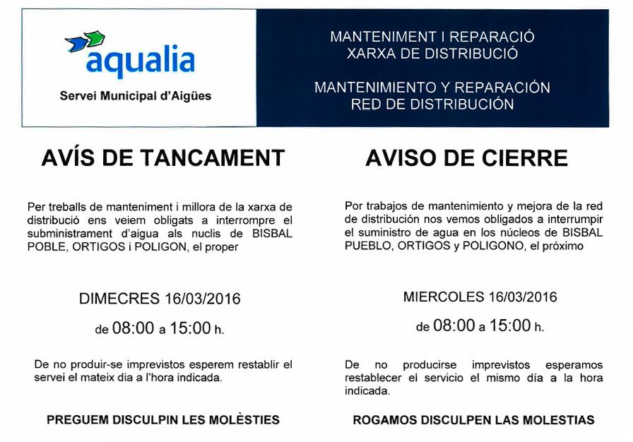 Tall de subministrament d'aigua pel dimecres 16 de març