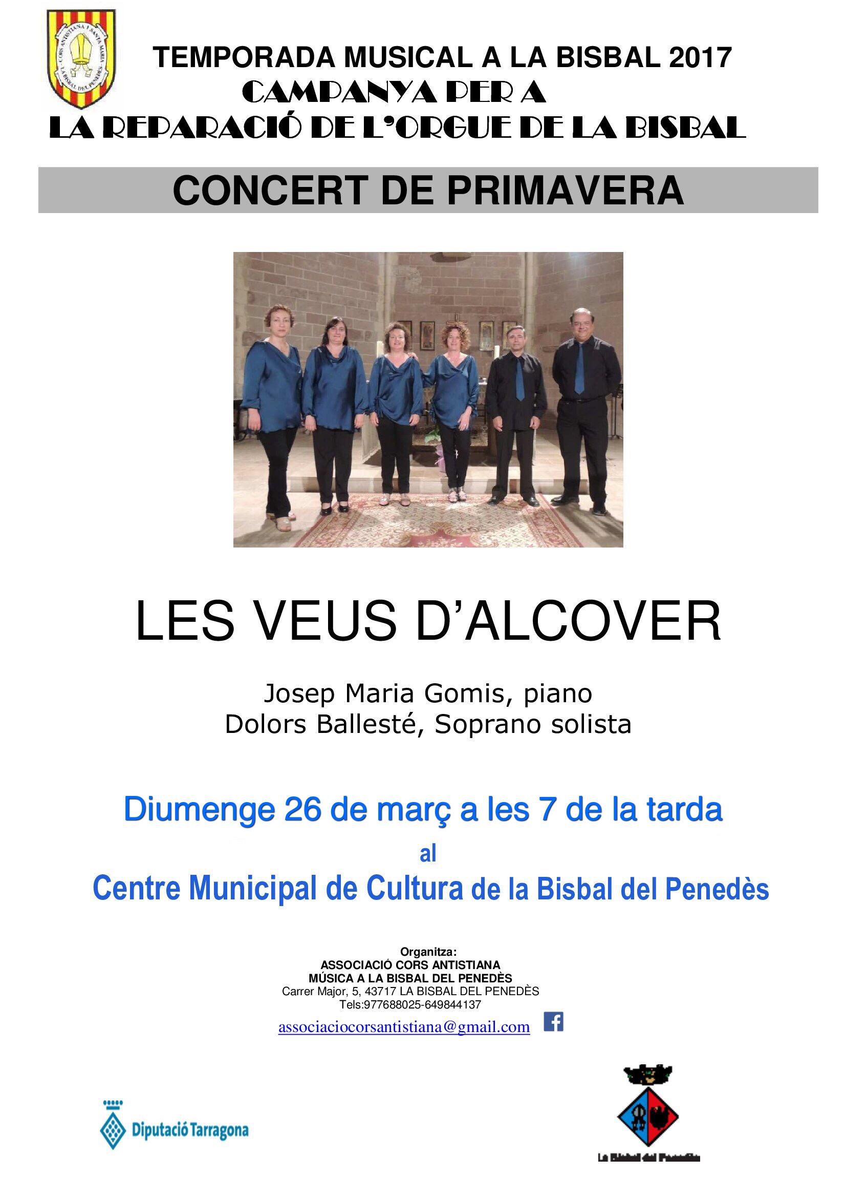 Aquest diumenge hi ha concert al CMC amb Les Veus d'Alcover.