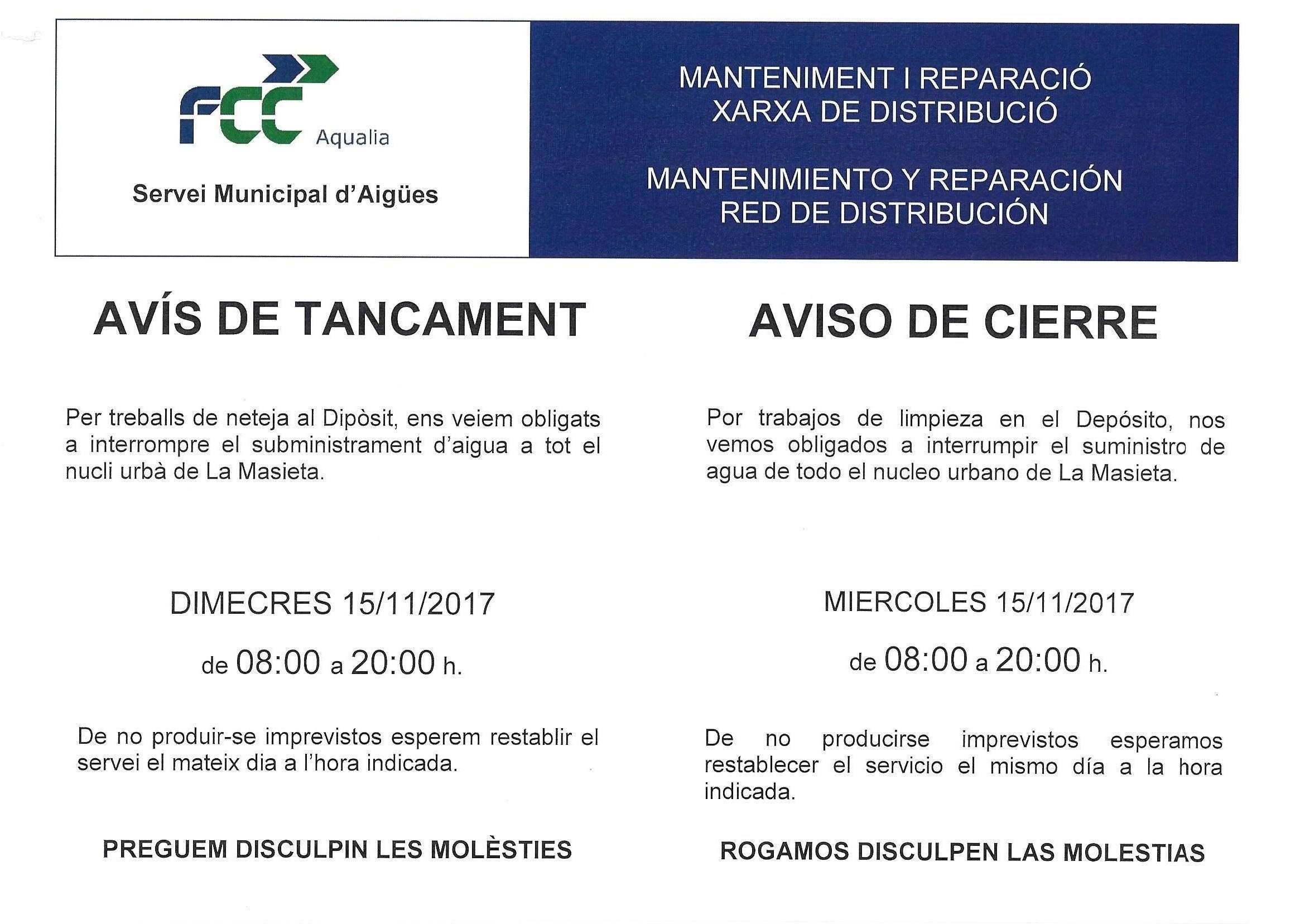 Aquest dimecres s'interromprà el subministrament d'aigua a La Masieta per tasques de manteniment