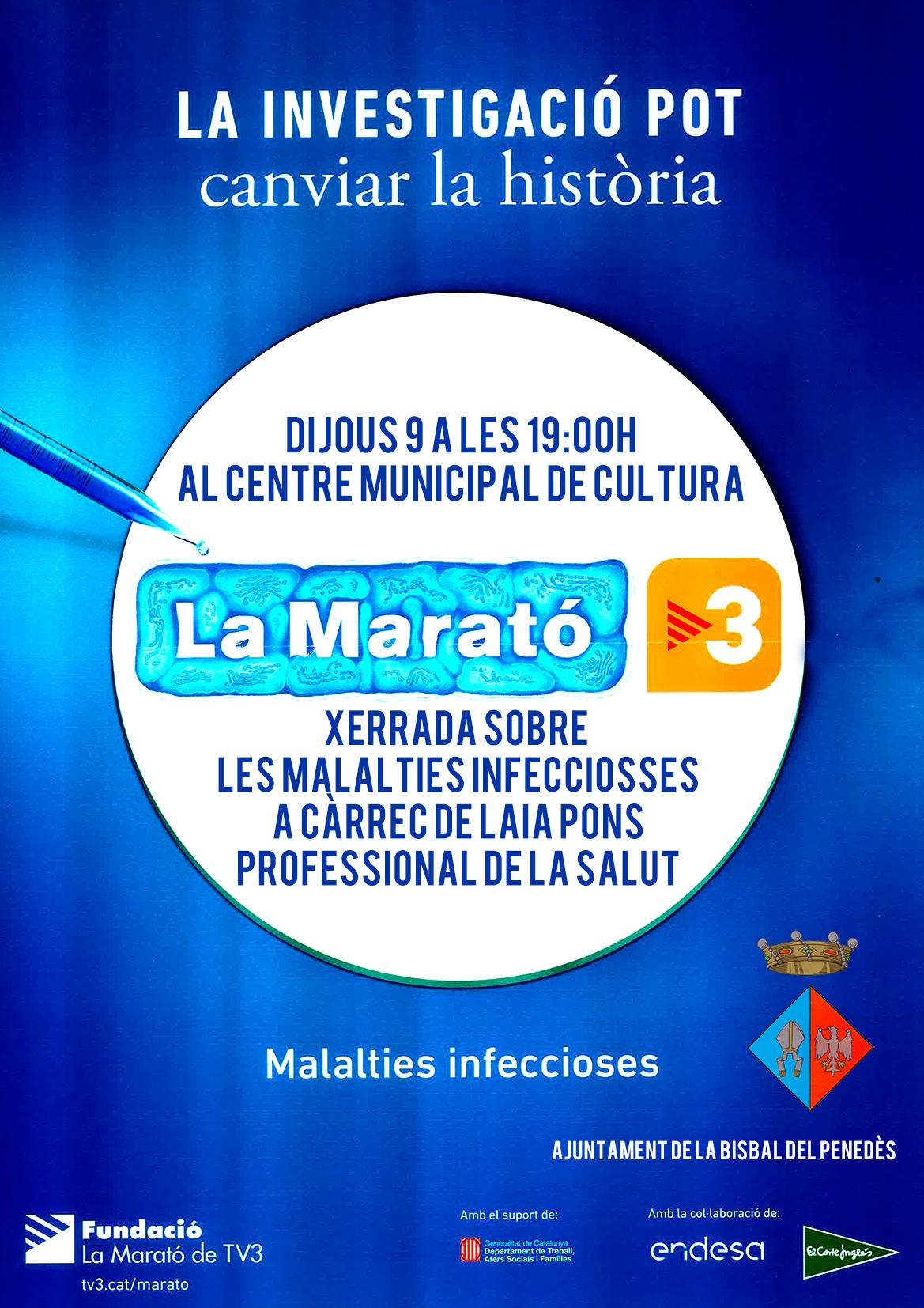 Aquest dilluns a les 19h el CMC acull una xerrada sobre malalties infeccioses en el marc de La Marató de TV3
