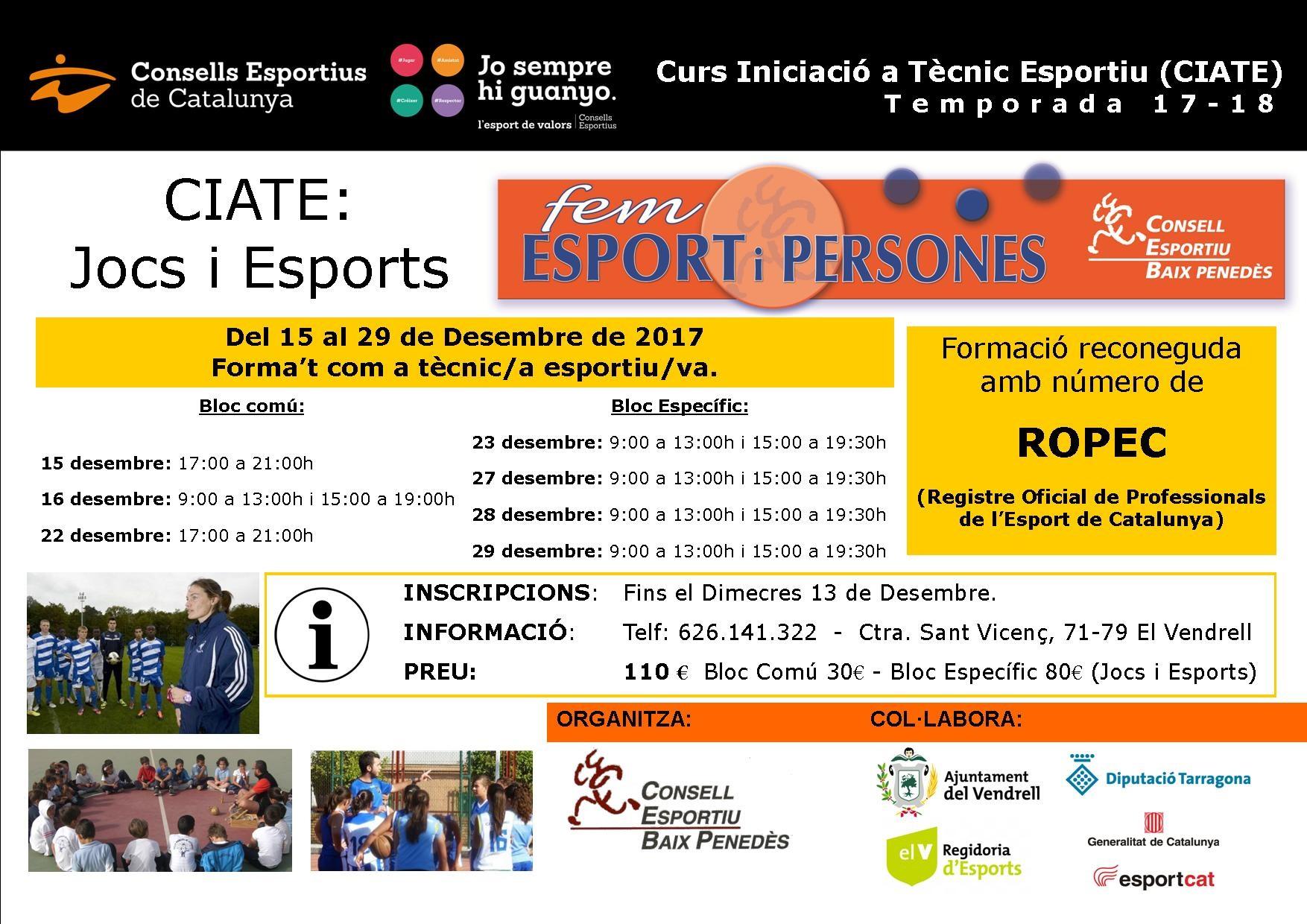 Aquest desembre podeu fer el Curs d'Iniciació a Tècnic Esportiu al Vendrell