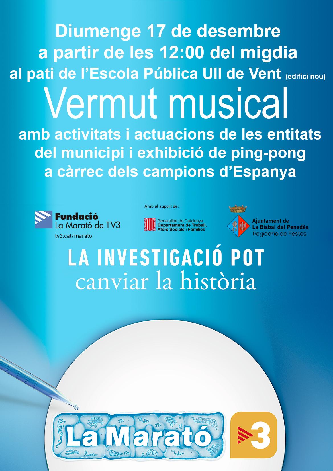 Diumenge 17 de desembre col·labora amb La Marató de TV3 participant al vermut musical