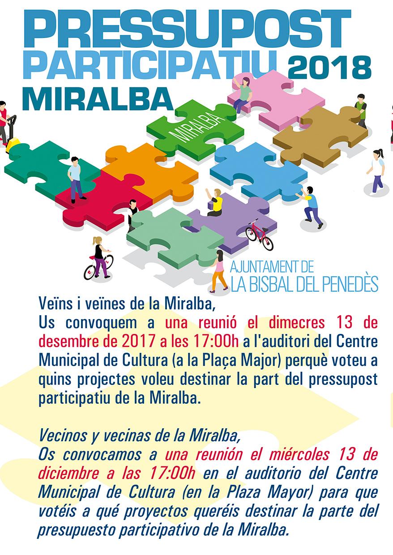 Aquesta setmana es voten els pressupostos participatius de La Miralba, El Papagai, La Masieta, Santa Cristina i el nucli de La Bisbal