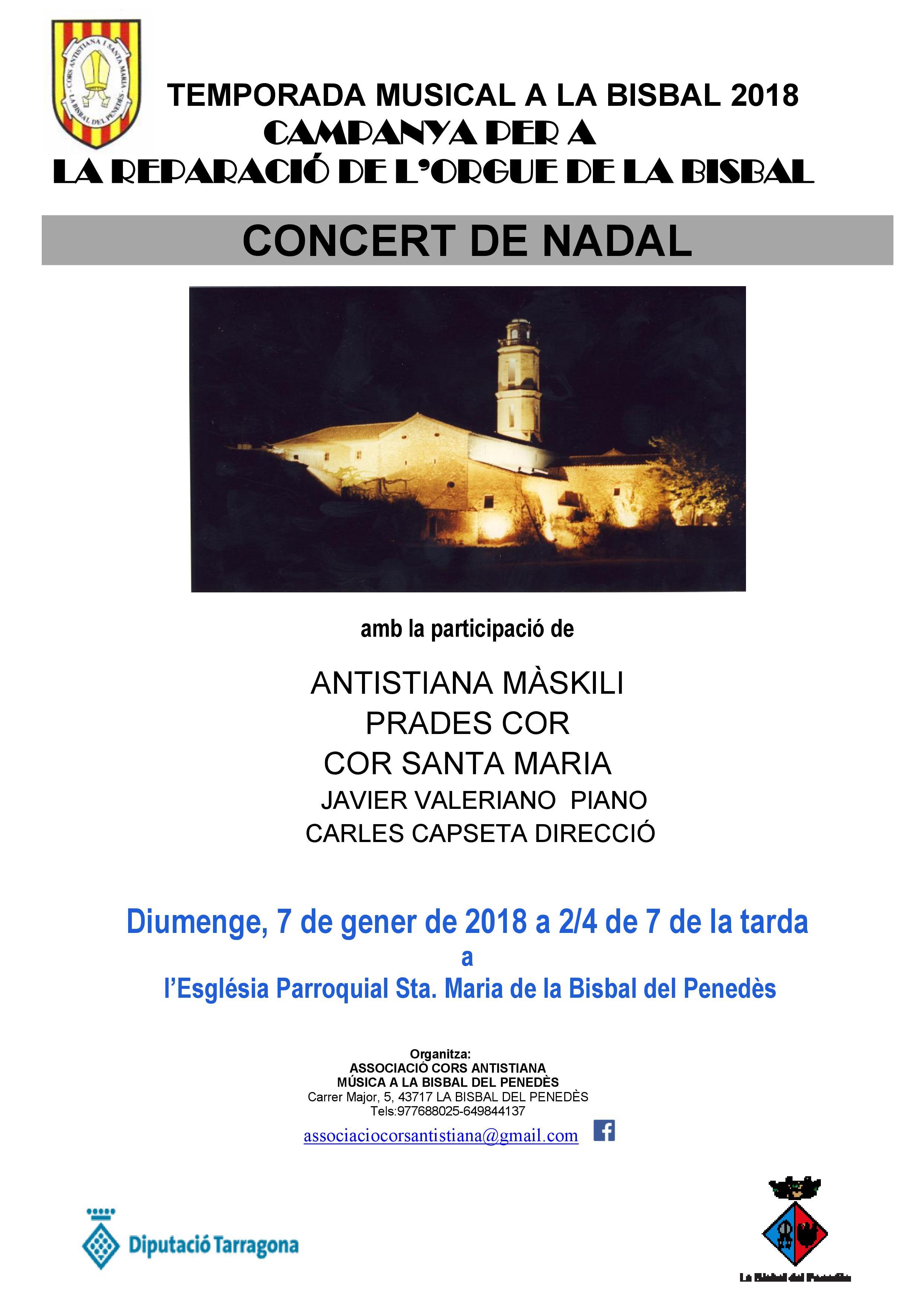 Diumenge 7 de gener a les 18.30h hi haurà Concert de Nadal a l'Església Parroquial de Santa Maria de la Bisbal