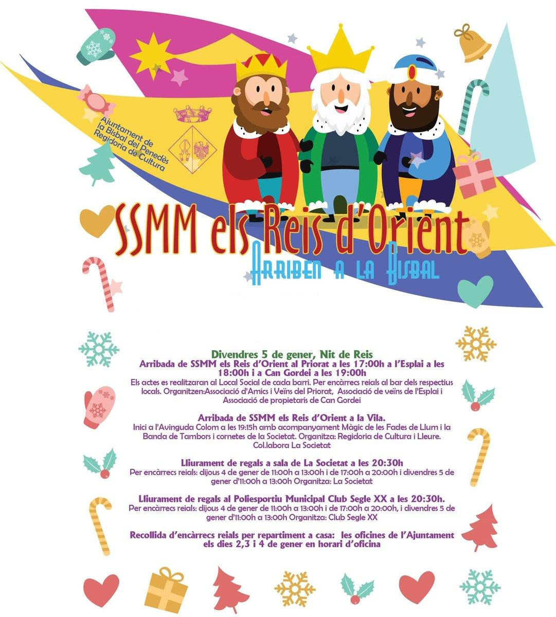 Avui divendres arriben SSMM els Reis d'Orient a la Bisbal del Penedès