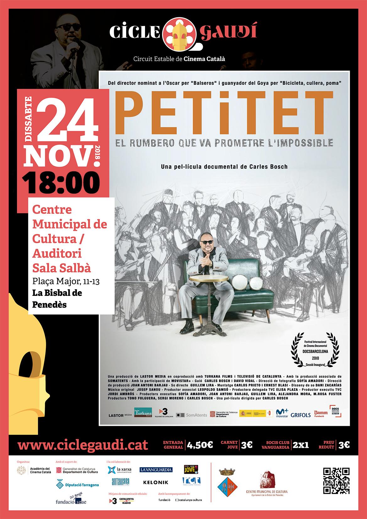 El pròxim dissabte 24 de novembre a les 18h podreu veure el documental 'Petitet' al CMC