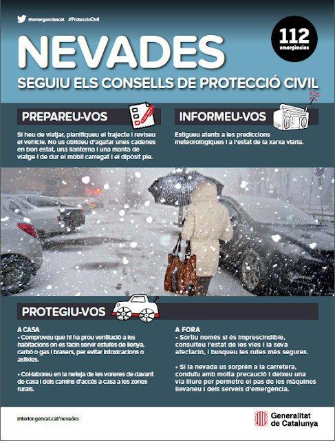 AVÍS|| Protecció Civil ha activat el pla Neucat per risc de nevades fortes