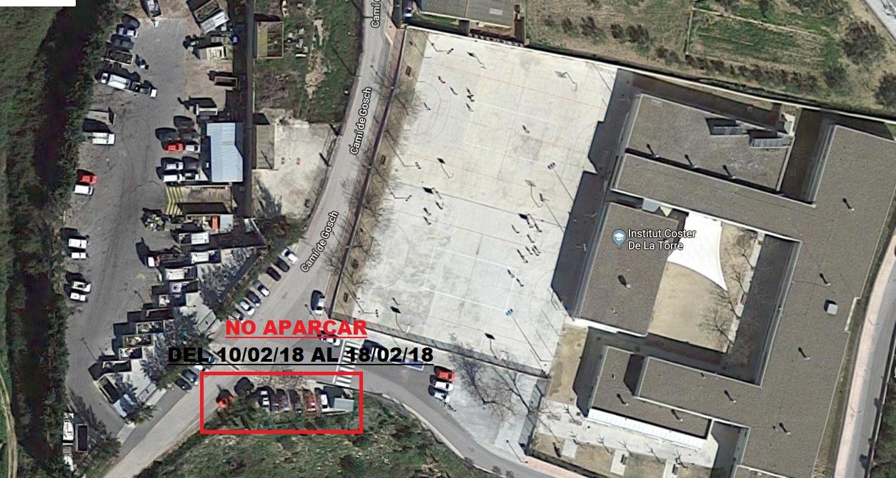 AVÍS|| Prohibició d'estacionament del 10 al 18 de febrer al davant del Punt Verd