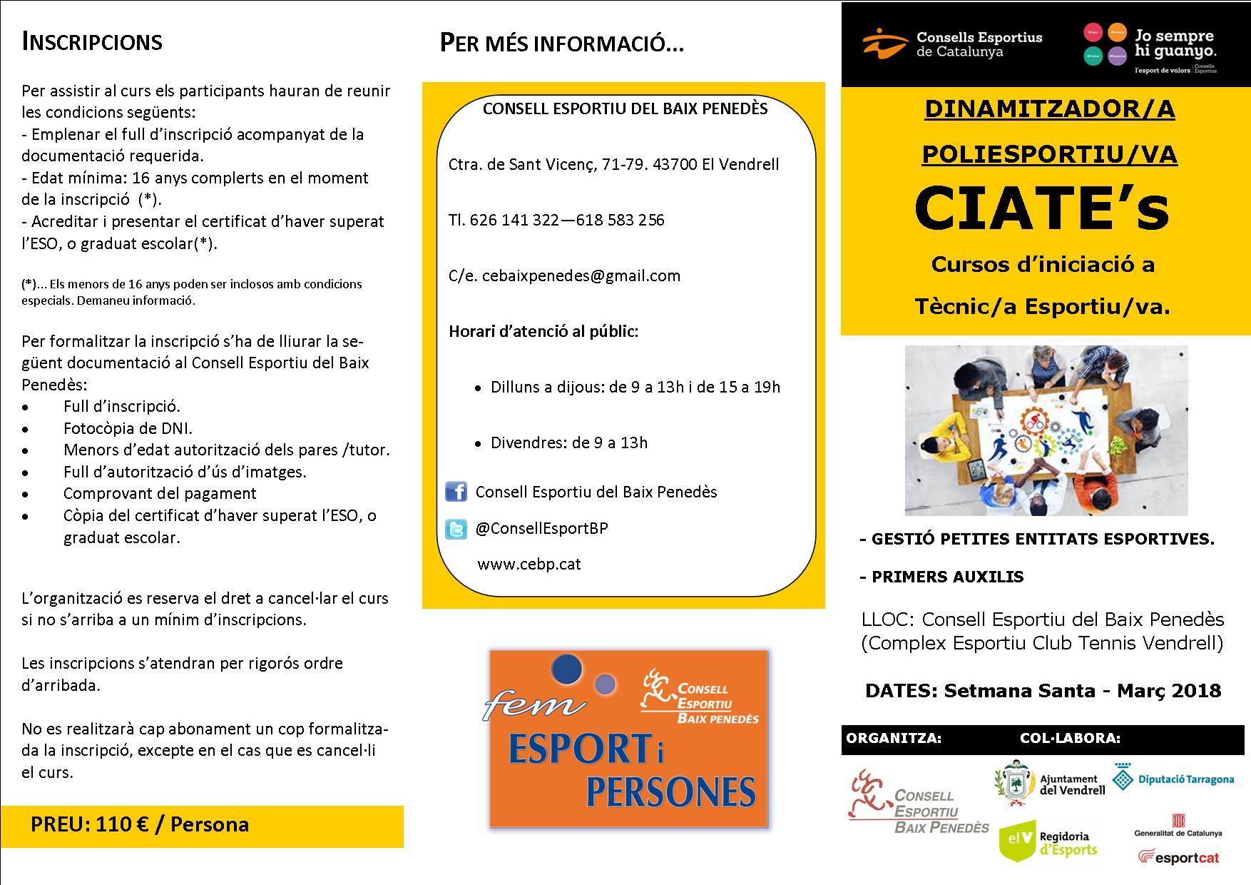 El Consell Esportiu del Baix Penedès organitza un curs de Dinamitzador/a Poliesportiu/va per aquest mes de març