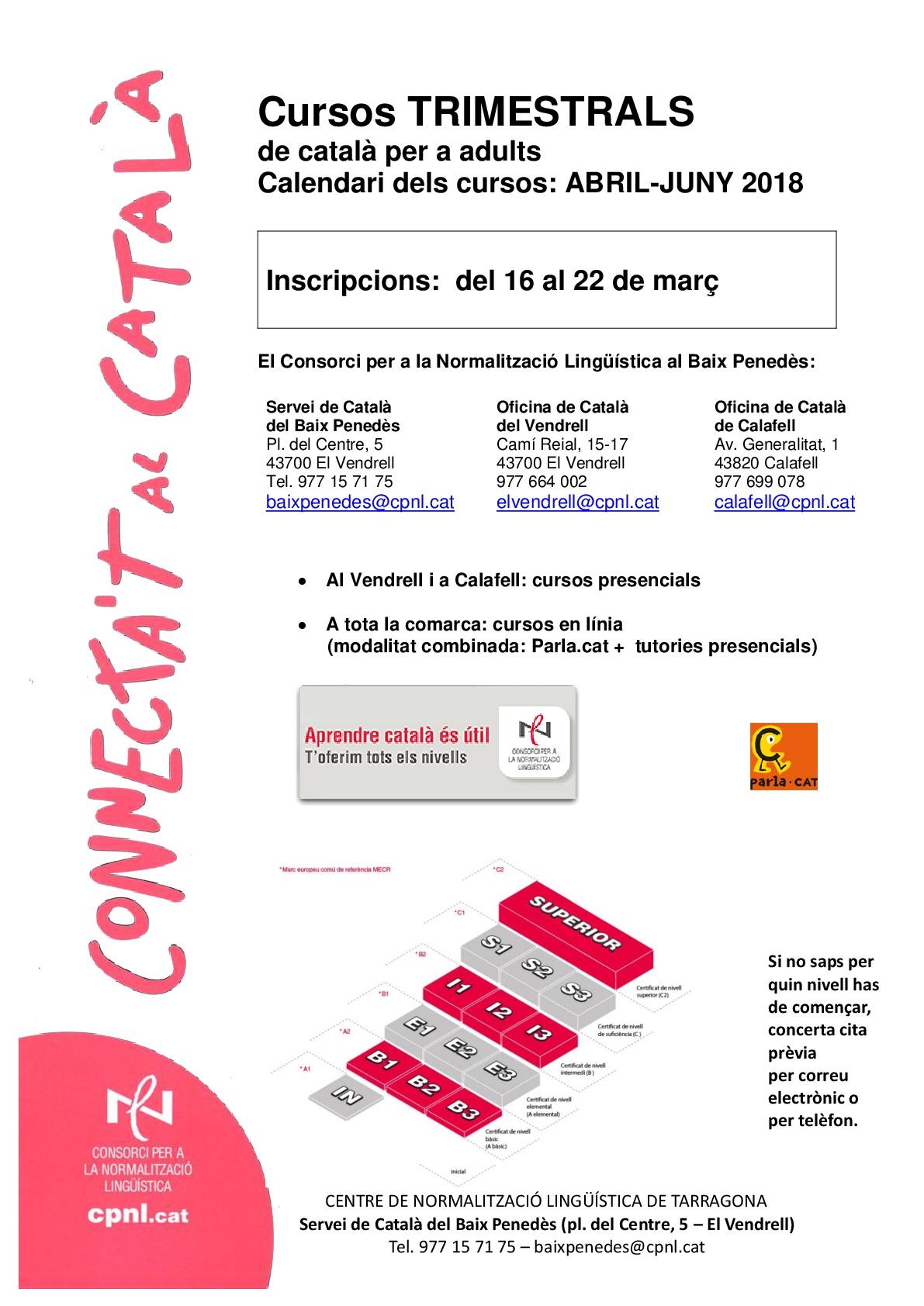 S'obre el període d'inscripció per als cursos trimestrals de català del Consorci per a la Normalització Lingüística del Baix Penedès