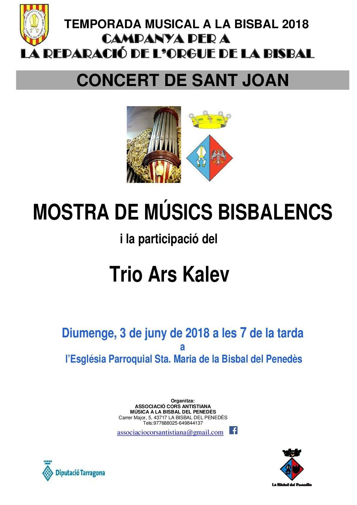 Aquest diumenge a les 19h podeu gaudir de la Mostra de Músics bisbalencs amb la participació del Trio Ars Kalev