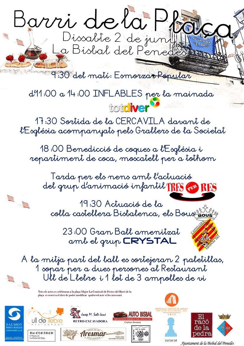 Aquest dissabte 2 de juny se celebra la festa del Barri de la Plaça