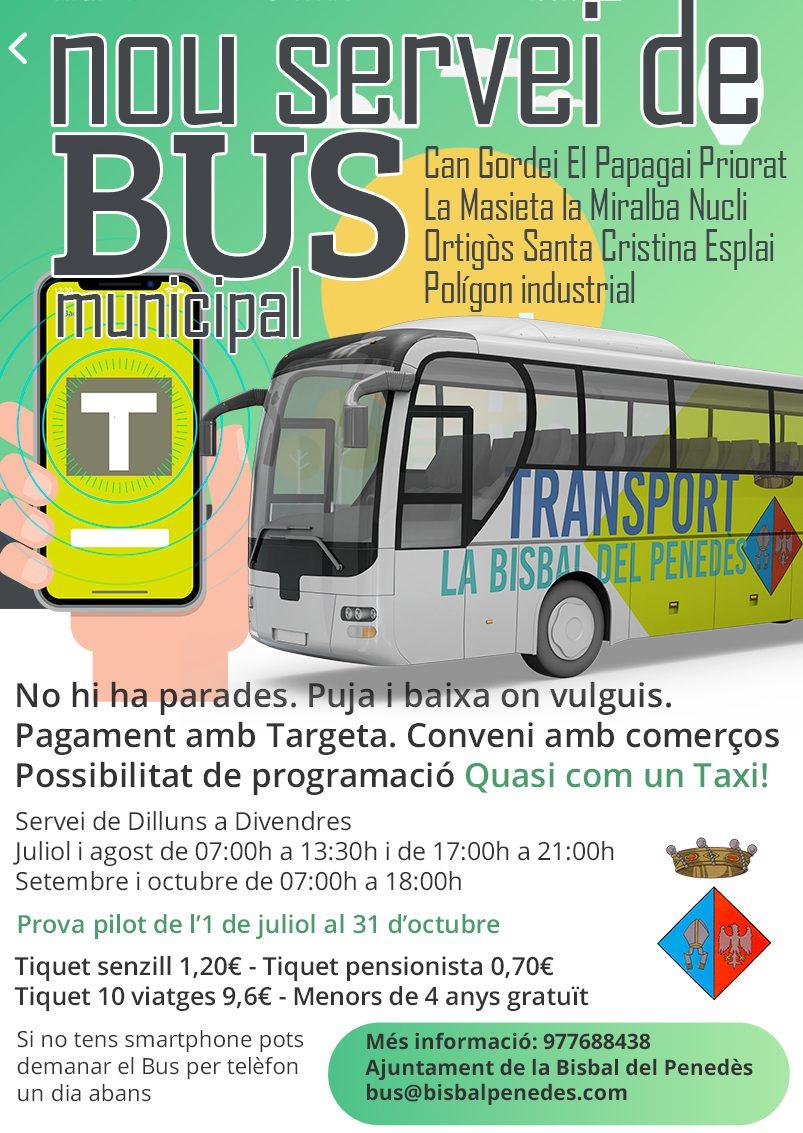 Avís: Del 26 al 29 de juny no hi haurà servei de bus urbà i el dia 2 de juliol entra en funcionament el nou servei sota demanada
