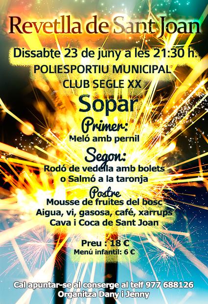 El Club Segle XX organitza un sopar per la revetlla de Sant Joan