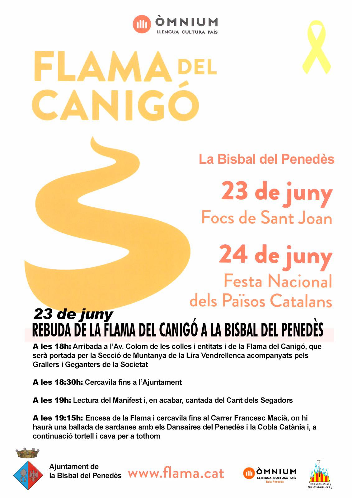 El dissabte 23 de juny arriba la Flama del Canigó a la Bisbal