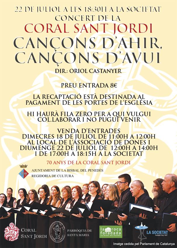 La Coral Sant Jordi oferirà el darrer concert de celebració del seu 70è aniversari a la Bisbal del Penedès