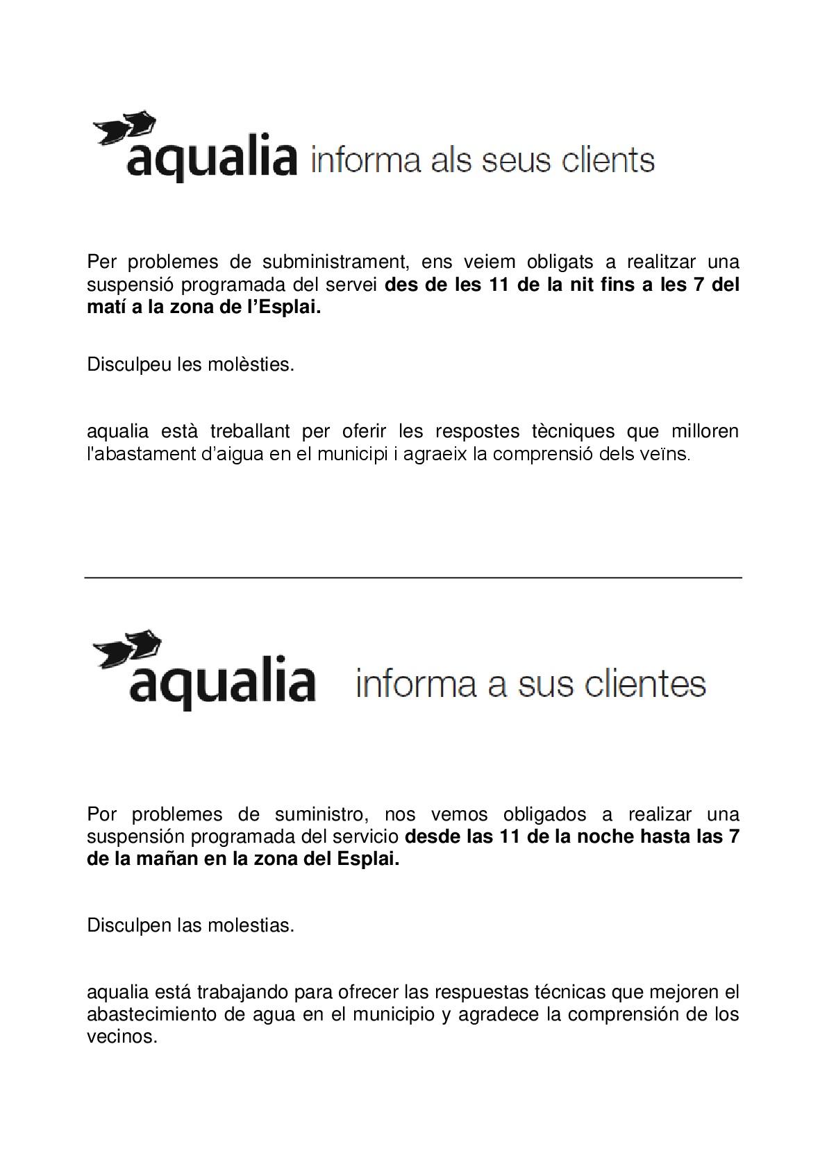Comunicat de l'Ajuntament de la Bisbal del Penedès sobre els talls d'aigua nocturns a l'Esplai