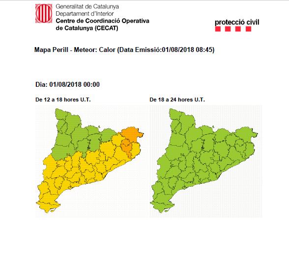 Avís per calor del Servei Meteorològic de Catalunya (SMC)