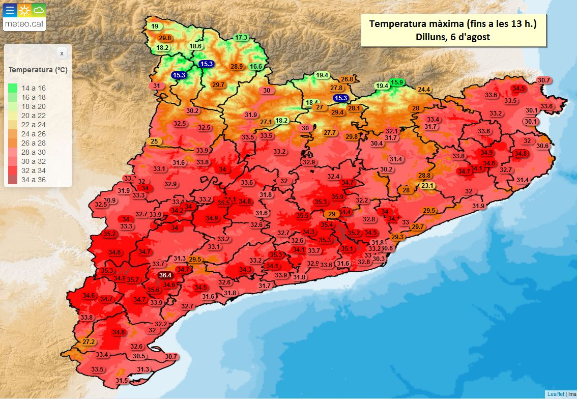 Avui dilluns 6 d'agost continua actiu l'avís per calor