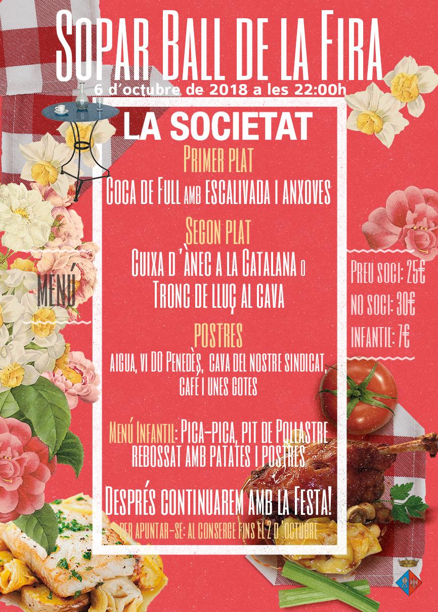 Ja es poden comprar els tiquets per al sopar ball que organitza la Societat amb motiu de la Fira