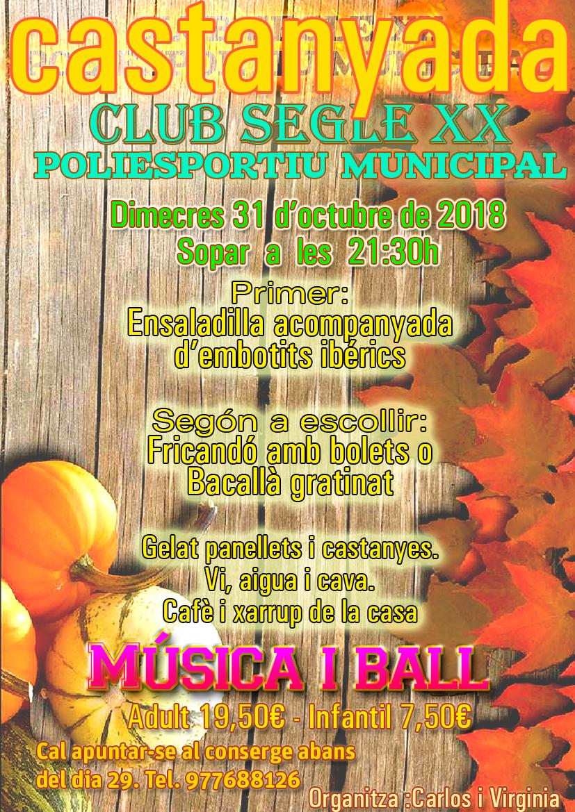 El Club Segle XX celebra la Castanyada el dimecres 31 d'octubre