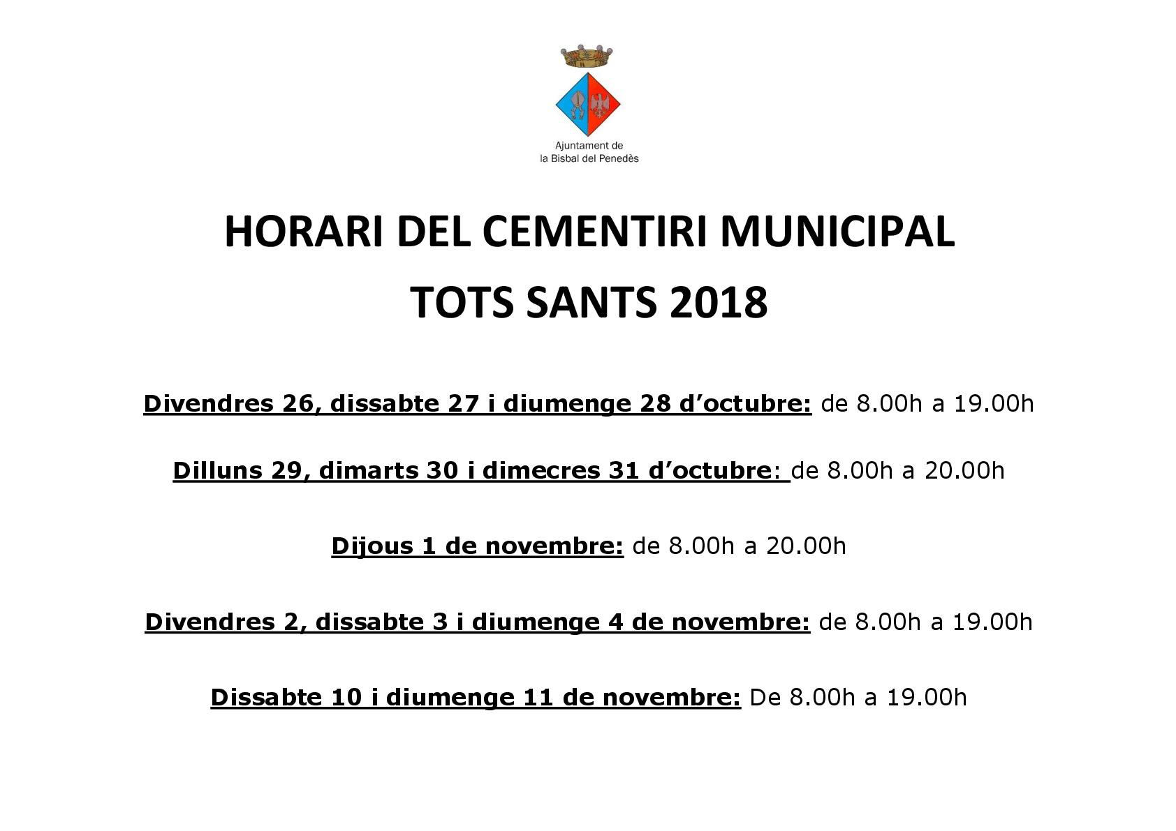 Horari del Cementiri Municipal amb motiu de Tots Sants