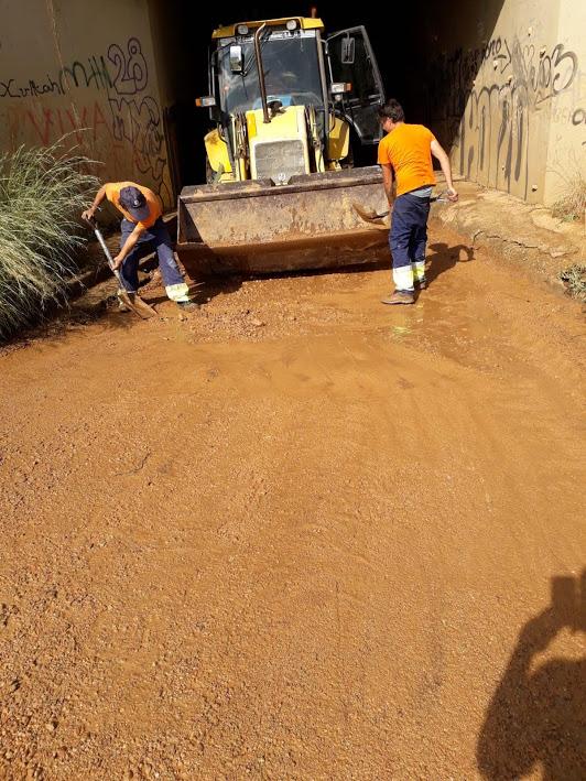 La brigada municipal està treballant per arranjar els desperfectes causats per les fortes pluges