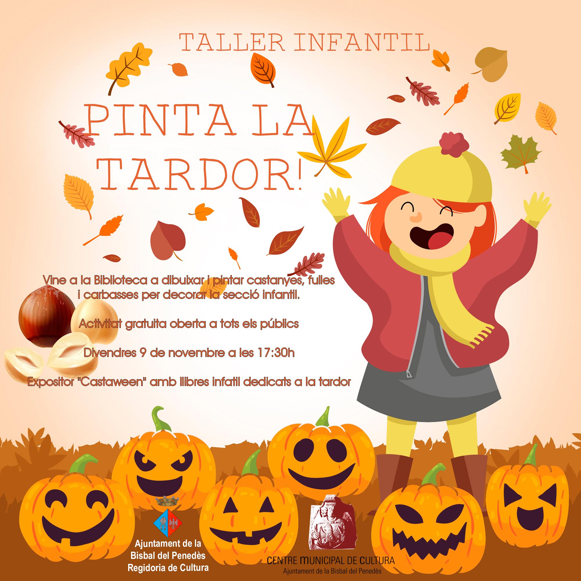 El divendres 9 de novembre no et perdis el taller infantil 'Pinta la tardor!' que farem a la Biblioteca