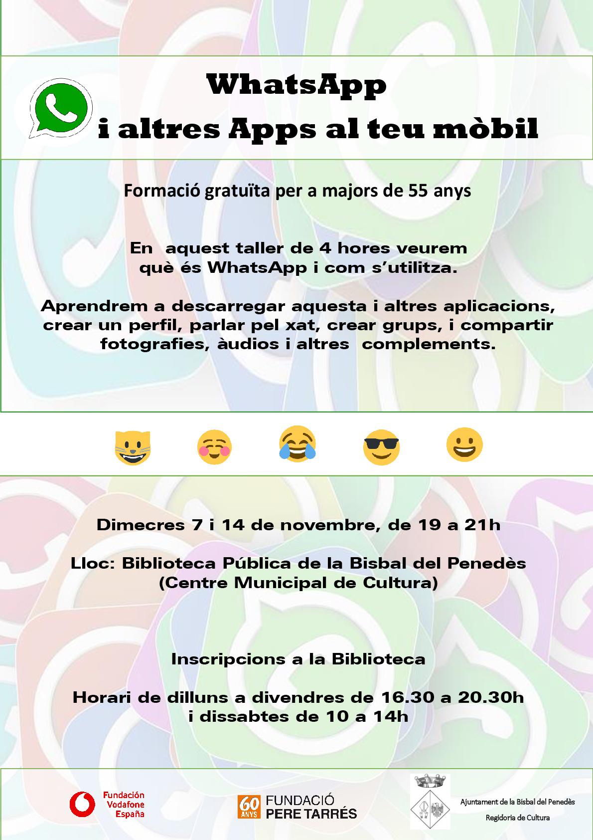 Vols aprendre com funciona Whatsapp i conèixer altres aplicacions per al teu mòbil? No et perdis aquest taller!