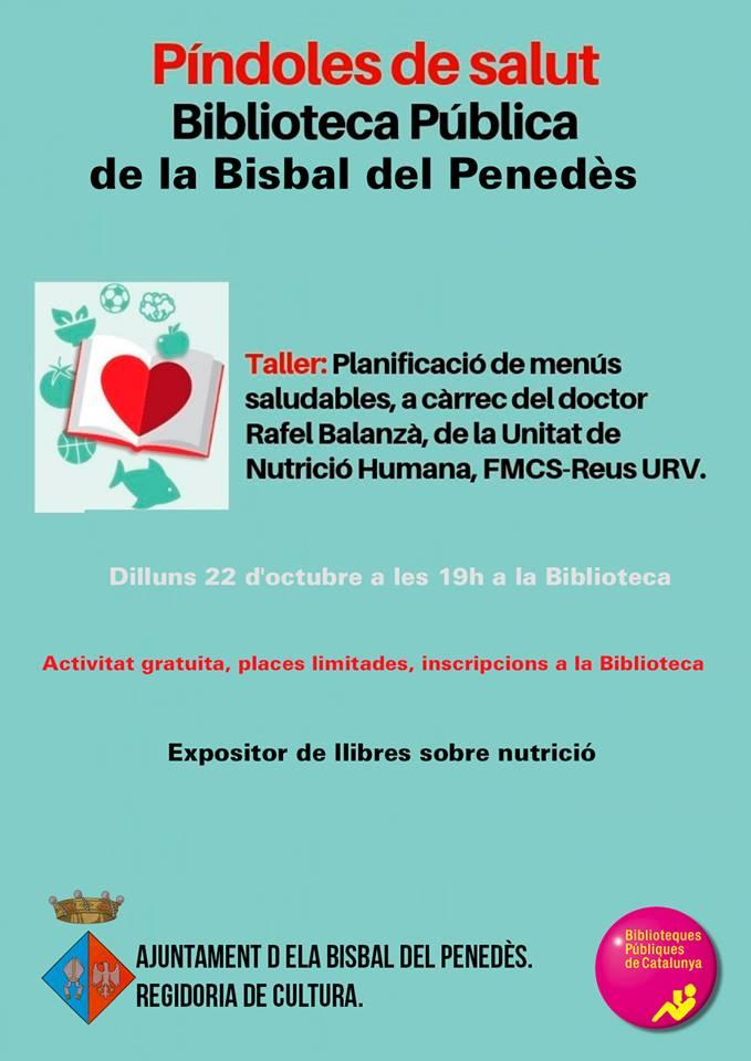 El dilluns 22 d'octubre a les 19h la Biblioteca acollirà un taller sobre 'Planificació de menús saludables'