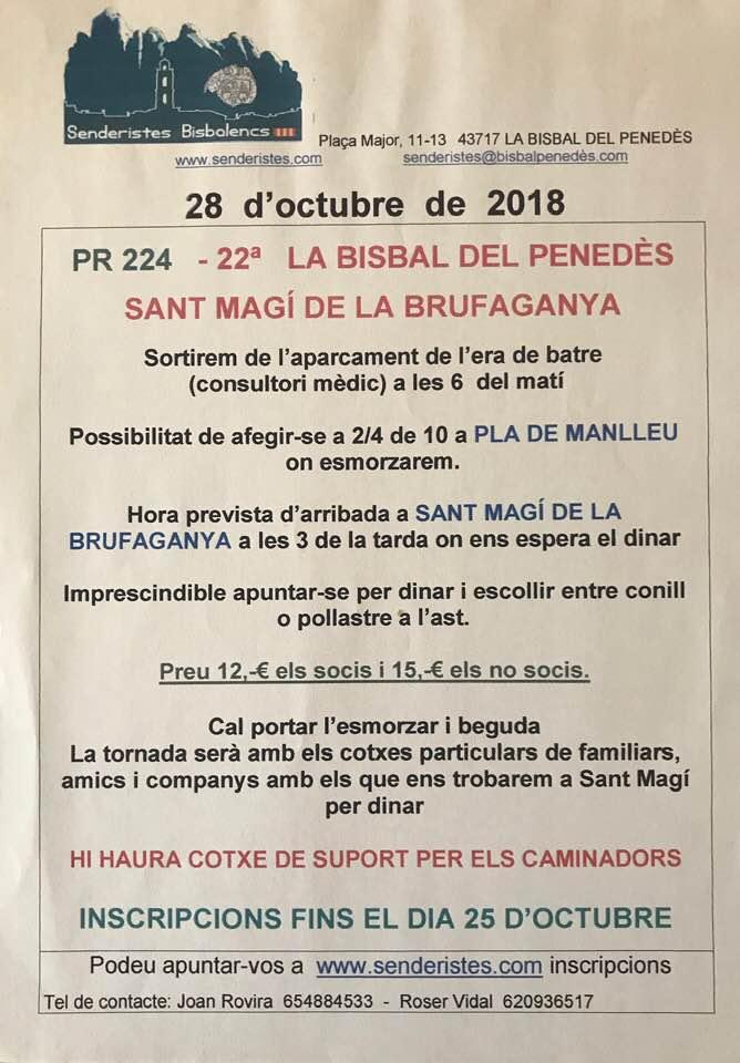 Fins al 25 d'octubre us podeu inscriure a la caminada La Bisbal – Sant Magí de la Brufaganya que organitza Senderistes Bisbalencs