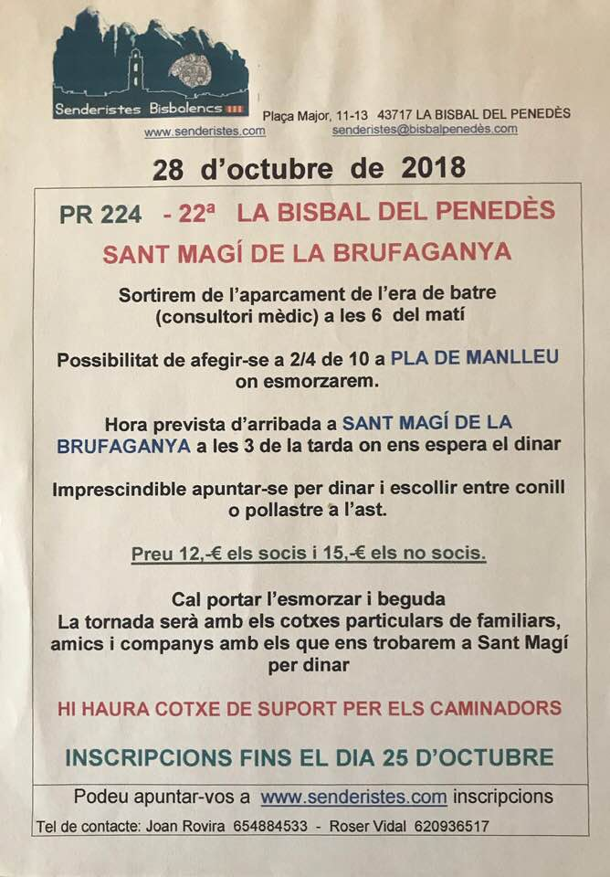 senderistes SANT MAGI DE LA BRUFAGANYA