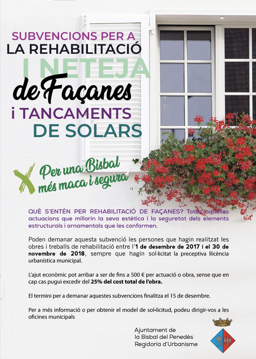 Fins al 15 de desembre podeu sol·licitar els ajuts econòmics per a la rehabilitació o neteja de façanes i tancament de solars