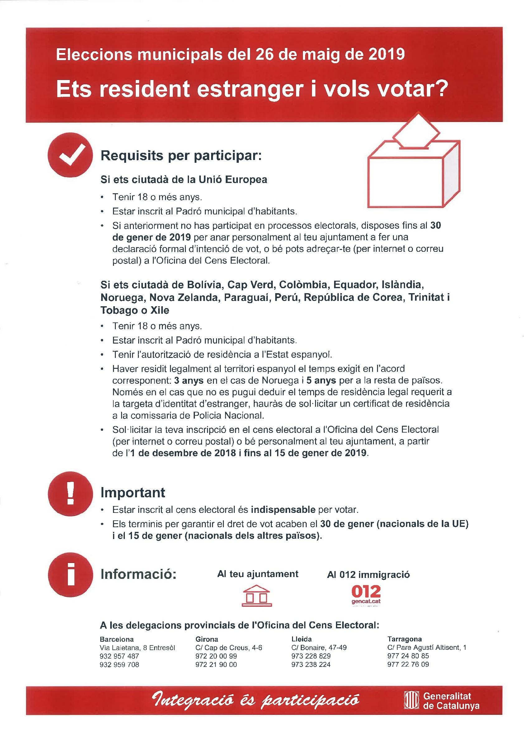 Informació per a residents estrangers en relació amb les Eleccions Municipals