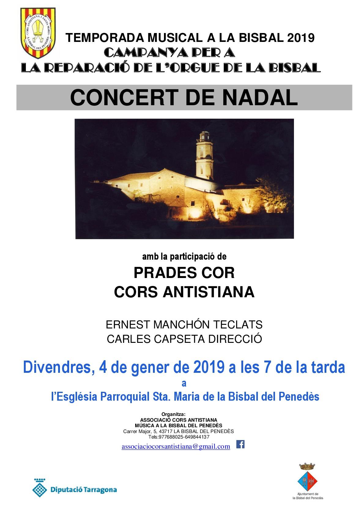 Prades Cor i la Coral Antistiana faran un concert el divendres 4 de gener a les 19h amb motiu de les festes nadalenques