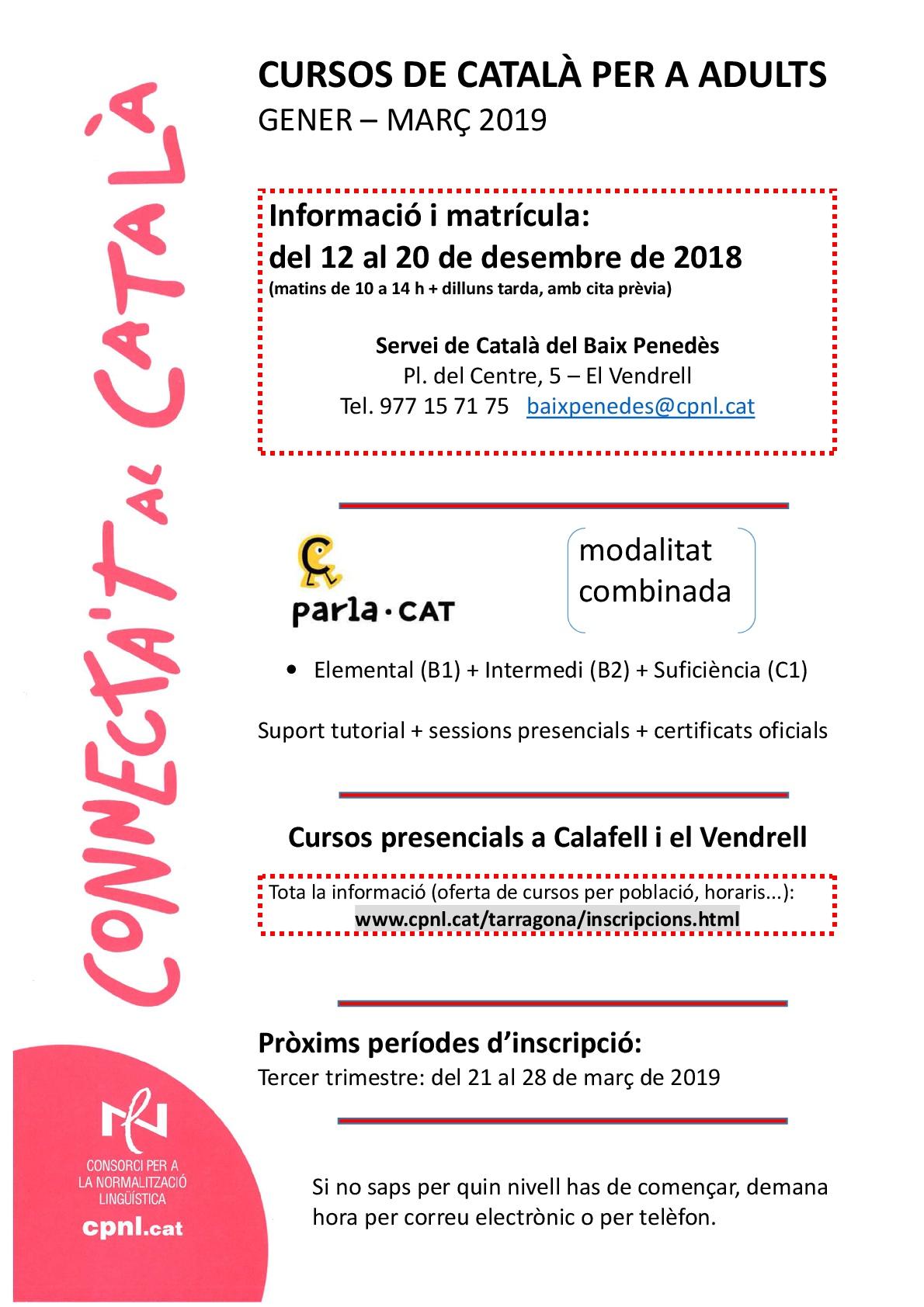 Vols fer un curs de català per a adults? ¿Quieres hacer un curso de catalán para adultos?