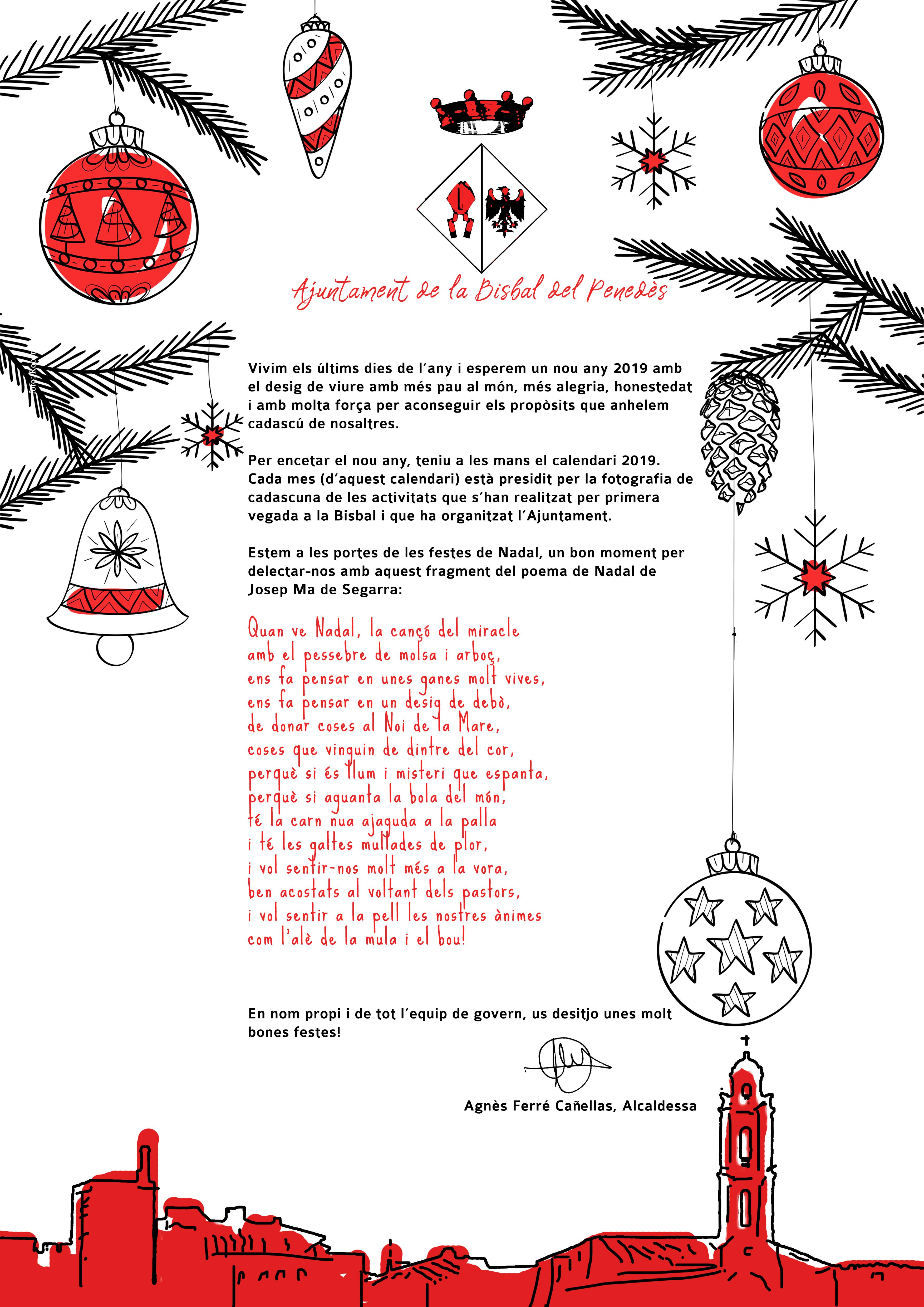 L'alcaldessa us desitja bones festes i us convida a recollir el calendari que edita l'Ajuntament