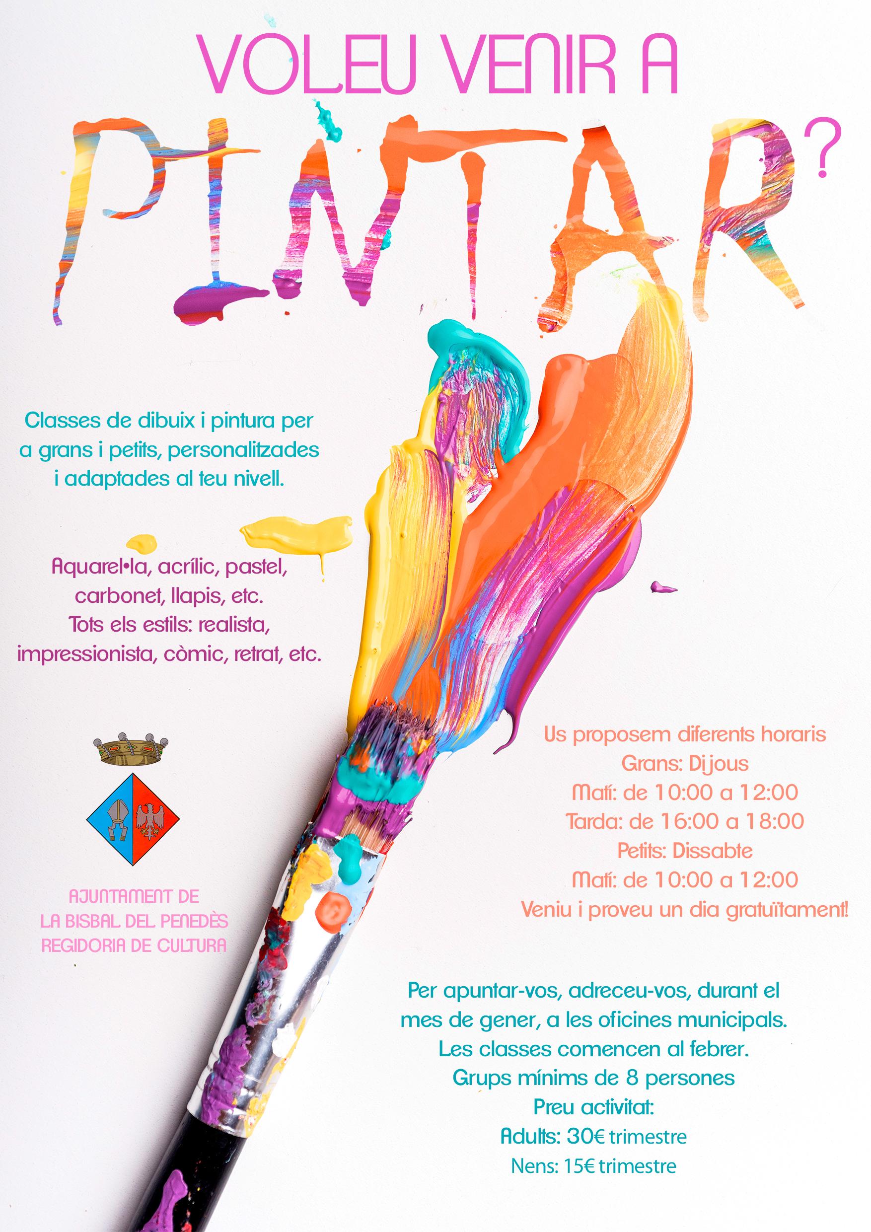 La Regidoria de Cultura ofereix cursos de pintura per a petits i grans a partir del febrer
