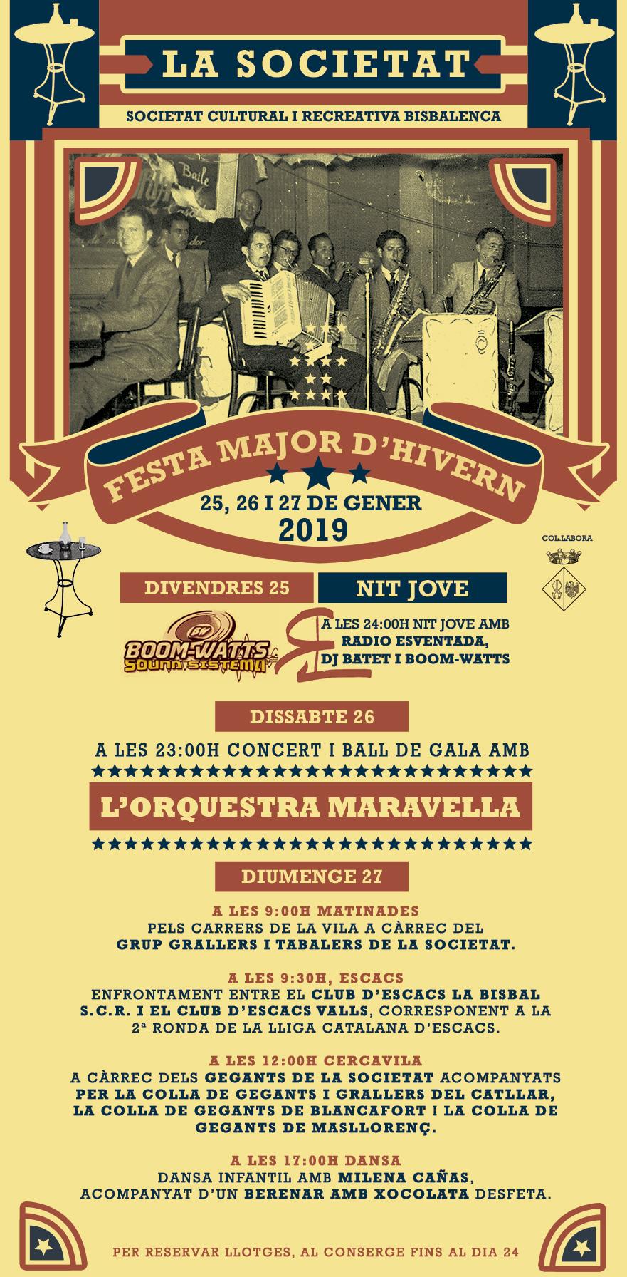 La Societat Cultural i Recreativa celebra la Festa Major d'Hivern del 25 al 27 de gener